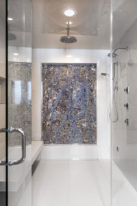 Stone and glass Art in the the shower Fargo, ND
