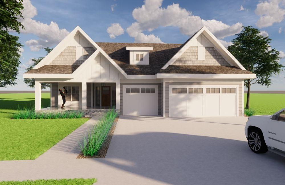 Digital rendering of exterior of custom rambler home