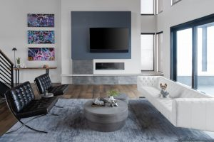 Modern Living room with art and fireplace in Custom Built Home