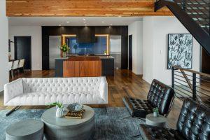 Modern Living Room in Custom Home