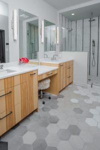 Master Bathroom with grey hexagonal tile