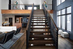 Custom Built Staircase to Loft in Custom Built Home in Fargo, ND