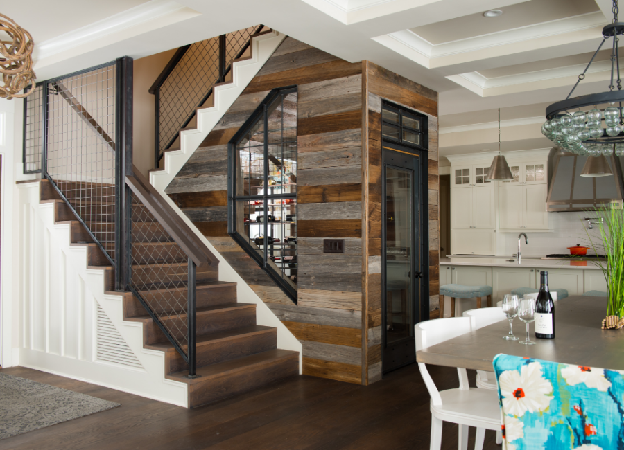 Wine Cellar staircase with reclaimed wood