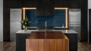 Custom built LED lit Backsplash in Modern Contemporary kitchen